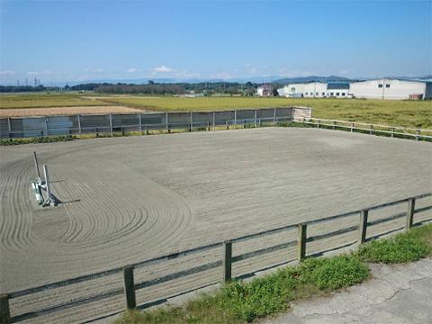 75m×30mの大きな馬場です。年に2~3回部内大会も開催しているほど十分な広さがあります。障害のコース練習や、馬場馬術の経路練習など、競技会を意識した練習ができるので上達への近道がみえてきます。